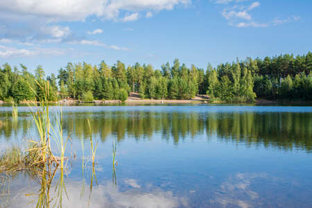 View of the lake in Storsvik, Siuntio, Finland Imagens