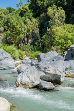 View of The Alcantara river, Sicily, Italy