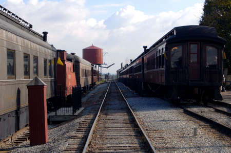 Railroad tracks with train cars