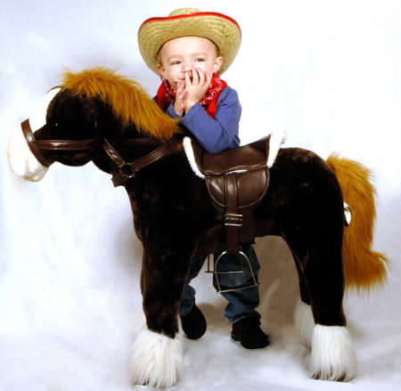 Cowboy with toy horse