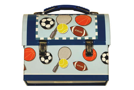 Metal lunch box with sports balls