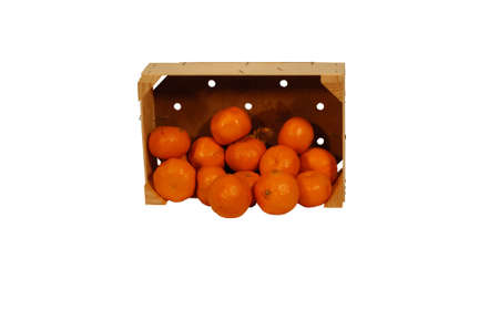 Box of oranges on side with white print space Stock Photo