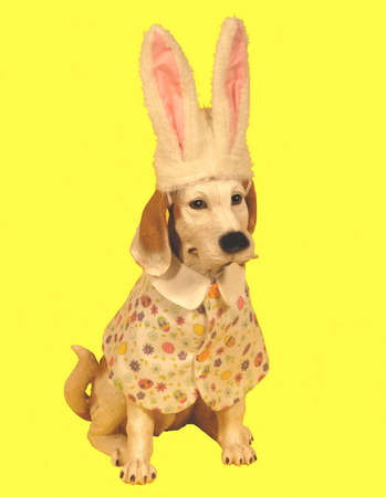 Dog statue dressed for Easter Stock Photo - 362539