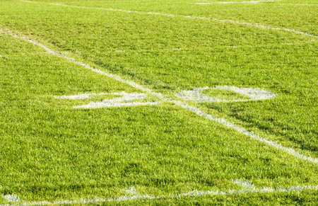 yardline: Twenty yardline on green grass football field