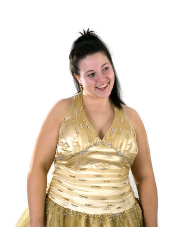 Teenager in formal gold gown with sequins Stock Photo - 902543