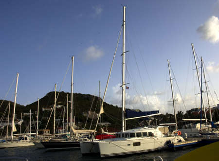 simpson: Boats and yachts docked at marina in St. Martin, Simpson Bay Stock Photo