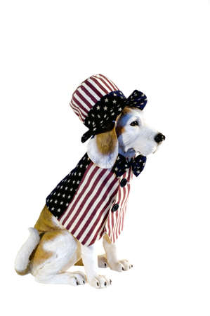 Beagle dog statue, dressed in patriotic red, white, blue vest and hat photo