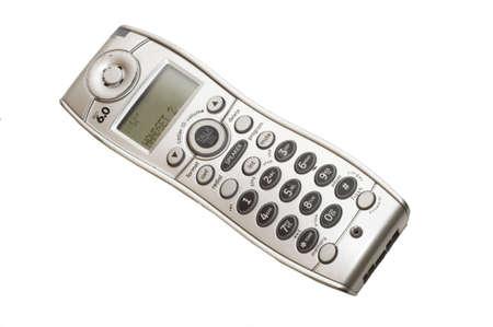 Graygrey handset of cordless telephone isolated against white background Stock Photo