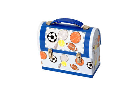Metal children's lunch box with athletic balls