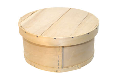unpainted: Unpainted round wooden box with lid on top