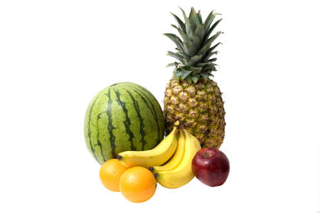 Isolated group of natural fruit to include watermelon, bananas, orange, apple, and pineapple Stock Photo - 3925980