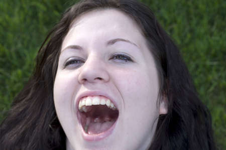 Teenage girl with mouth wide open