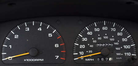 Speedometer and tachometer of a car in black color