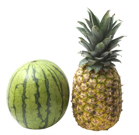 Watermelon and pineapple isolated on white background Stock Photo - 4399783