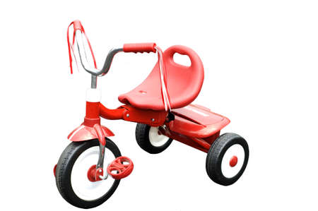 Isolated red tricycle against white background Stock Photo