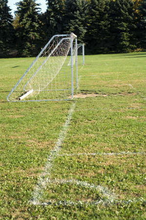 Soccer on baseline of soccer field with painted line