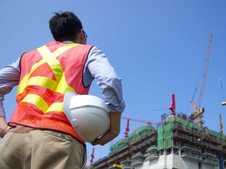 Construction worker with a helmet Stock Photo