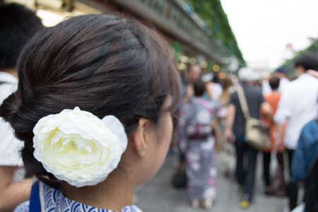 asakusa: A woman wearing Yukata is at Asakusa