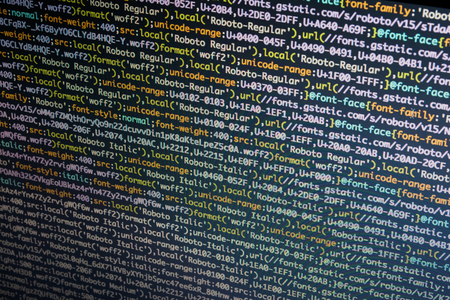 Programming code on computer screen