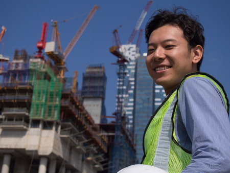 Construction worker with a smile Stock Photo