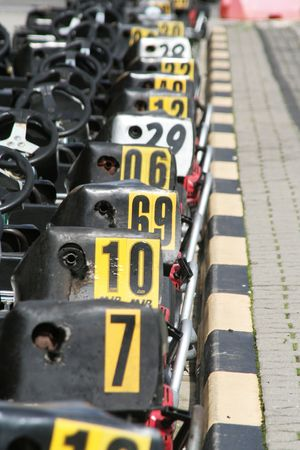 aligned: Aligned empty karts stop at the box