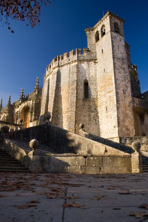 templars: a bellow perspective of Tomar Monastery Stock Photo