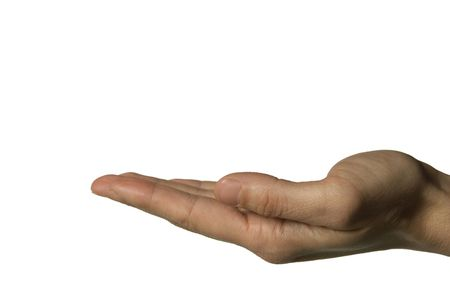 A hand introducing something over a white background Stock Photo - 845557