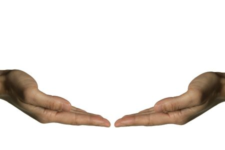 A hand introducing something over a white background photo
