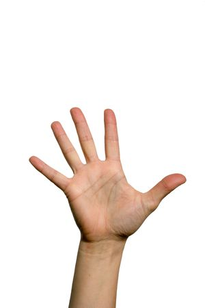 The five fingers of a open palm hand photo
