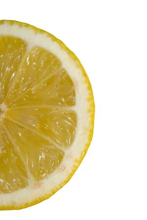 bisected: the detail of half lemon isolated on white