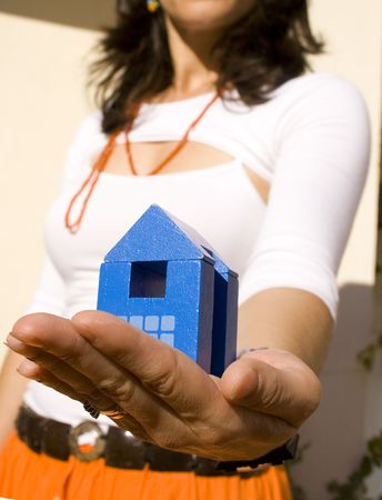 Proudly pretenting my new house  (focus on the house) Stock Photo - 963783