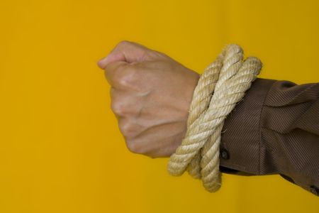 dissuade: men hands tiedup with a strong rope