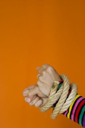 tiedup: Woman hands tiedup with a strong rope