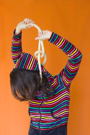 hanged woman: a frustrated woman trying to hang her self