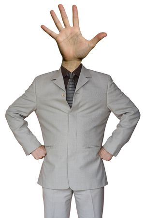 a funny Businessman whit a stop hand head photo