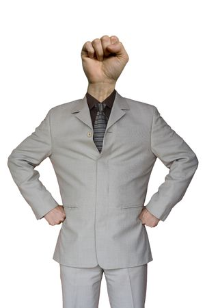 a funny businessman with a fist hand head photo