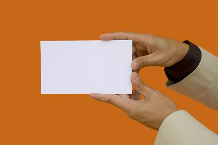 businessman showing a blank card with two hands photo