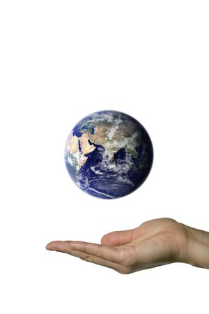 A hand showing the beautifull blue earth photo