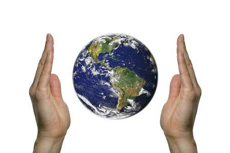 two hands holding the beatifull blue earth photo