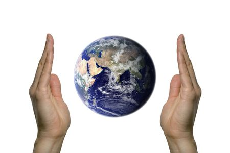 two hands holding the beatifull blue earth Stock Photo - 1079623
