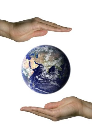 two hands holding the beatifull blue earth (vertical) photo