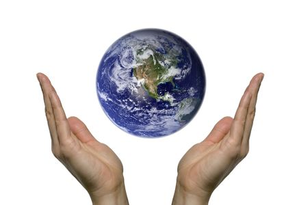 Two hands praying for our blue earth photo