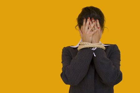a businesswoman with her hands tied for a corporate crime Stock Photo - 1132698