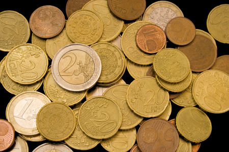 2 50: all my savings in euro coins Stock Photo