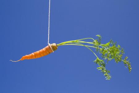 una zanahoria en el cielo, como un cebo  Foto de archivo