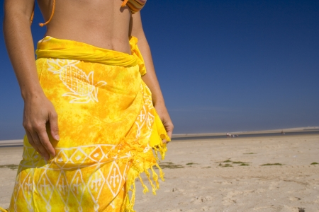 woman at the beach with a Sexy skirt Stock Photo - 1577199