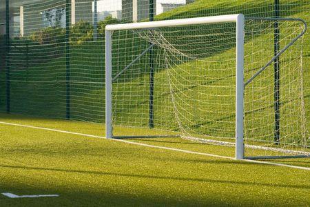 kickball: a detail of an empty soccer net