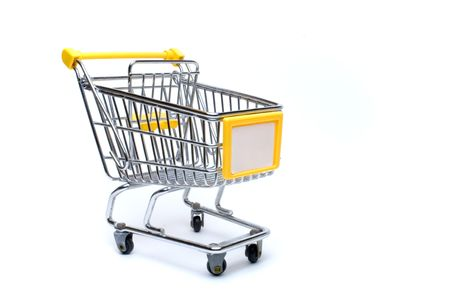 an isolated shopping cart with copyspace photo