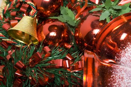 Bells, Balls and rinbons as decoration for christmas photo