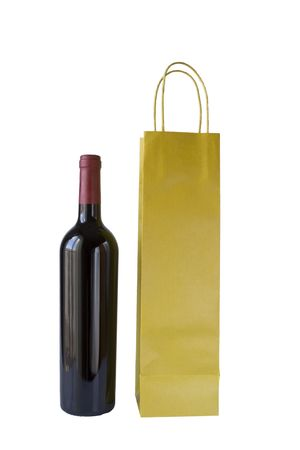 commercial recycling: Wine Bottle and Bag on white background